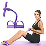 Pedal Resistance Band - SPTMALL Sit-up Band 4-Tube Natural Latex Multi-Function Pedal Fitness Equipment with Protable Bag, Elastic Pull Rope for Abdomen, Waist, Arm, Leg Stretching Slimming Training