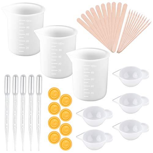 KONUNUS - Tazas medidoras de silicona para resina de 100 ml para mezclar tazas de resina con varillas de mezcla y pipeta para moldes de resina epoxi
