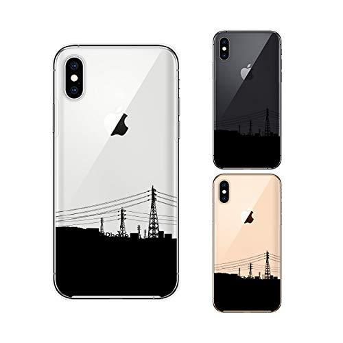 Apple iPhone XS スマホ ケース カバー アイフォンXS iPhoneXS シルエット1 ブラック 電線 風景 シンプル クリアデザイン アイフォンケース アイフォンカバー