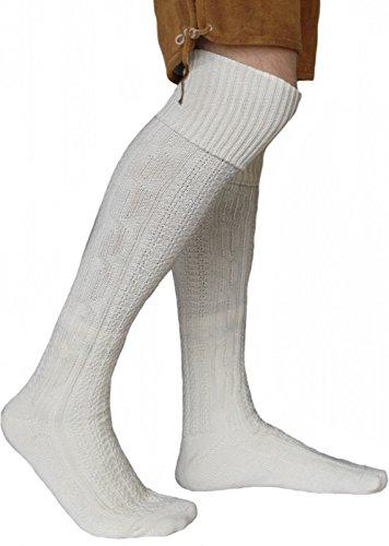 German Wear EXTRA Lange Trachtensocken Strümpfe Trachtenlederhose Socken aus Wolle Natur 75cm, Größe:39-42
