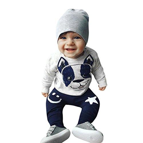 Hirolan Ausgefallene Babykleidung 2Stk Kleinkind Baby Jungen Mädchen Karikatur Hund Ohren Lange Ärmel Tops Baumwolle Hose Beiläufig Outfit Kleider Set (70, Grau)