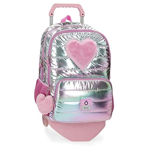 Mochila Enso Fancy Doble Compartimento con Carro  Rosa  32x44x17 cm