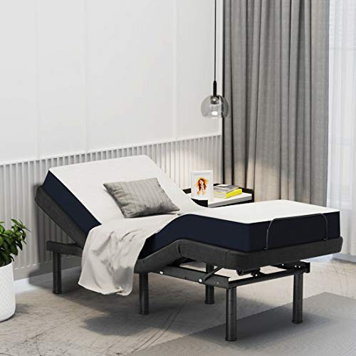 Smile Back Adjustable Bed Frame Twin XL Adjustable Beds Base Electric Bed Mattress Foundation Platform Friendly, Wireless Remote, No Noise Bed, Height Adjustable, Head and Foot Incline, Only Bed Frame