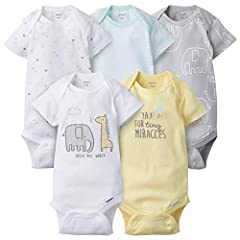 Includes 5 onesies Cotton rib Variety of colors/patterns Art is screen-print and puff print Knit