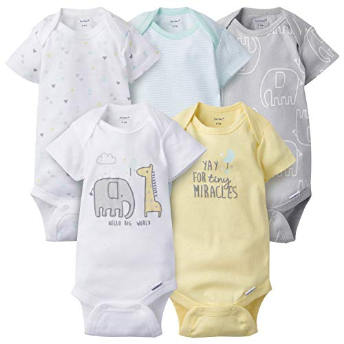 Gerber Baby Boys' 5-Pack Variety Onesies Bodysuits, Elephant Dream, Newborn