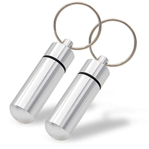 Aribari Mini boîte à pilules en Aluminium avec Porte-clés. Boîte à comprimés imperméable. Capsule d'urgence. Étiquette Cadeau ou étiquette d'adresse. Longueur 5,2 cm ø 1,4 cm (Argent 2 pièces)