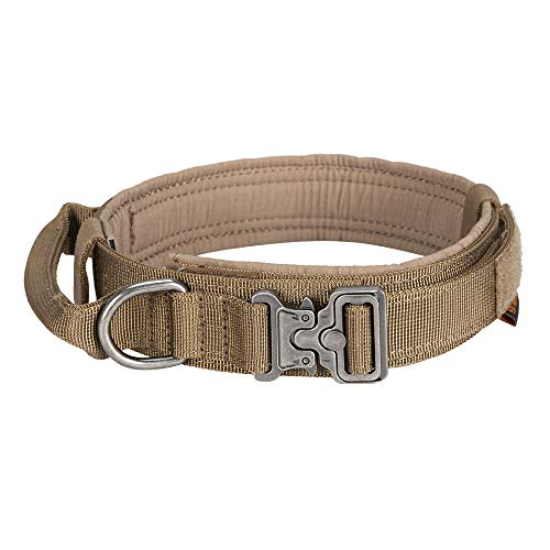 EXCELLENT ELITE SPANKER Taktisches Hundehalsband Mit Griff Halsband K9 Training Nylon verstellbar Nackengürtel für Hunde(Braun-L)