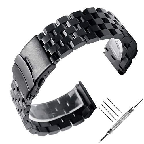 22mm solido in acciaio INOX, cinturino nero lucido metallo orologio...
