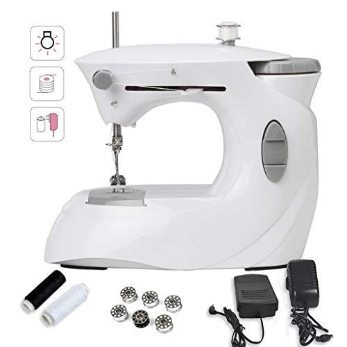 Naaimachine voor beginners, draagbare naaimachine, grijs, elektrisch, verstelbaar met 2 snelheden, met pedaal -12.30