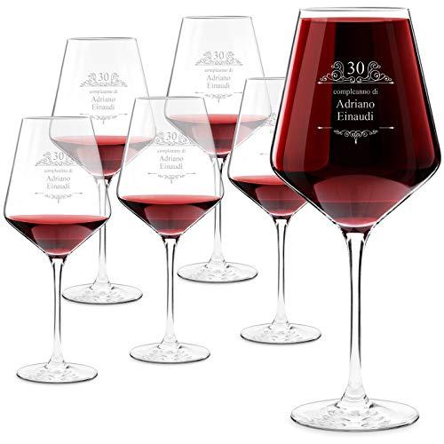 Murrano Calici da vino Avant-Garde - incisione personalizzata - 490 ml - set da 6 pezzi in vetro - ideale per vino rosso e bianco - regalo di compleanno unico per l' uomo - Compleanno