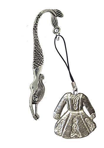 Derbyshire UK FT64 - Vestito da solo per danza celtica, 3 x 3 cm, realizzato in peltro inglese su segnalibro sirena