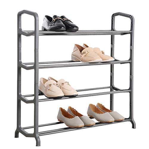 Knight 4 Tier/ 5 Tier Space Grey Shoe Rack, For Living Room, Hallway and Cloakroom, Stores between 12 to 16 Pairs of Shoes, Sturdy Design, Space Saving (4 Tier)