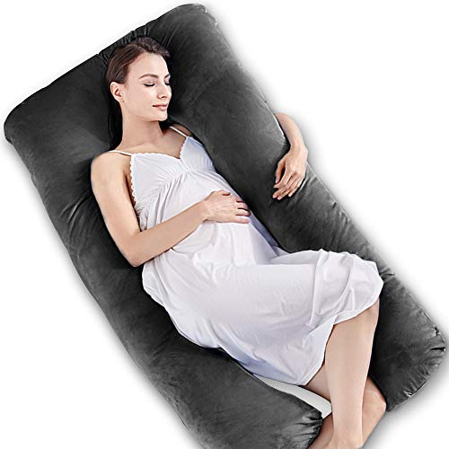Almohada de Embarazo en Forma de U, Almohada Lactancia, Almohada Embarazada con Funda Extraíble y Lavable