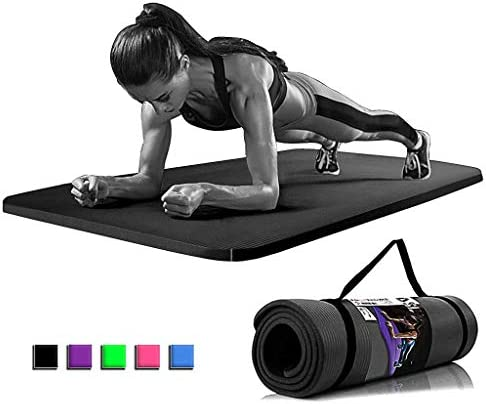 Yoga Auxiliary mat 15mm Gym Exercise Non Slip Pilates Fitness Carry Strap NBR