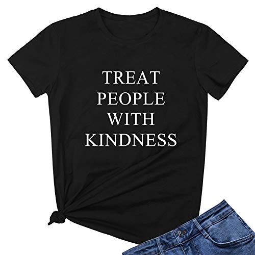 LOOKFACE Women Cute T Shirt Junior Tops Teen Girls Graphic Tees Black Medium