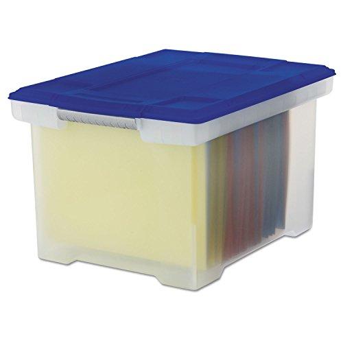 Storex – Sac en plastique fichier Boîte de rangement, lettre/juridique, à couvercle, transparent – Vendu comme 1 Chaque – fichier Sac s'adapte fichiers dans une direction Taille Lettre, Legal Taille fichiers dans l'autre sens.