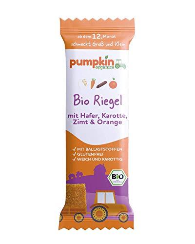 Pumpkin Organics Bio Riegel mit Hafer, Karotte, Zimt & Orange, für Kinder und Babys ab dem 12. Monat, 28er Pack (28x20g)