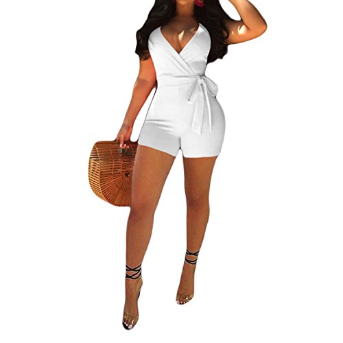IyMoo Womens One Piece Short Jumpsuits Spaghetti Strap Deep V Neck Backless Romper Jumpsuits Playsuit with Belt White Large