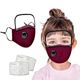 Cotton Dustproof Outdoor Face Protective Face Guard with Eyes Shield + 2 Filters, Anti Pollution Dust Free Mouth Protectives