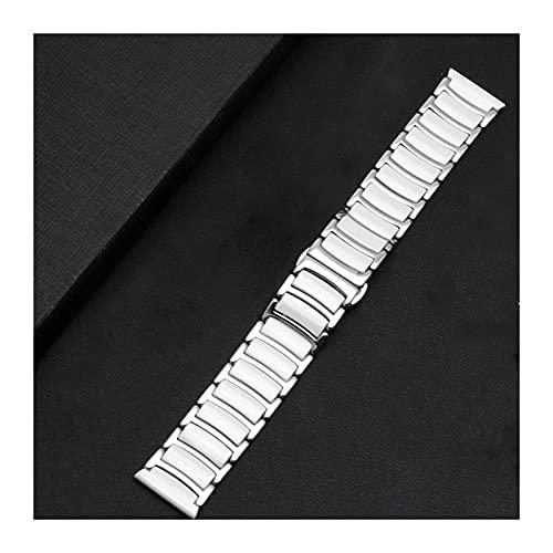 Correa de acero inoxidable de dos colores Correa de pulsera de cerámica Correa de reloj extraíble y reemplazable con herramientas Pulsera de 16 mm 18 mm 20 mm 22 mm (Color: Blanco, Tamaño: 16 mm)
