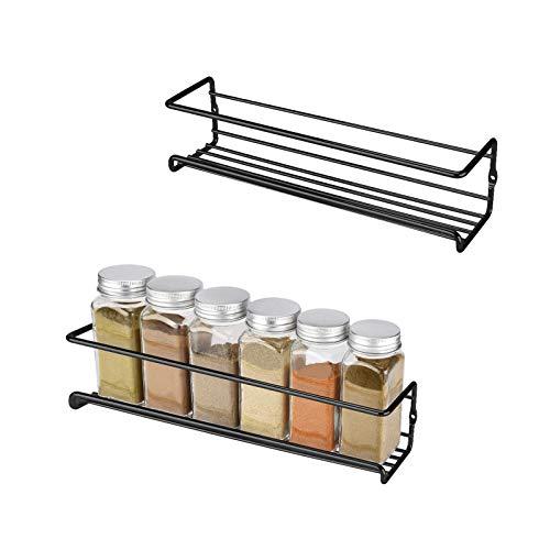 Hansiro Gewürzregal aus Metall |Stehende Küchenablage | Schrankeinsatz für Schranktür | 29 x 6 x 5 cm | Schwarz | 2 Stück