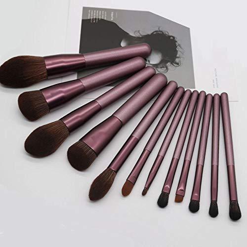 Maquillage Brush Set,De haute qualité 12 pièces débutants ensemble complet d'outils de maquillage pinceau poudre poudre, pinceau nu