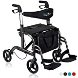 Health Line Massage Products 2 in 1 Rollator-Transport Chair w/Paded Seatrest, Reversible Backrest and Detachable Footrests, Titanium