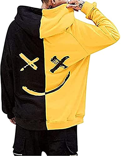 Men's Hooded Sweatshirts Smile Face Pullover Fashion Loose Hoodie Yellow
