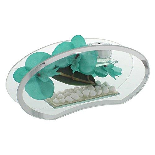 Hestia 28cm Glass & Mirror Tea light Holder Aqua/turchese forma ovale