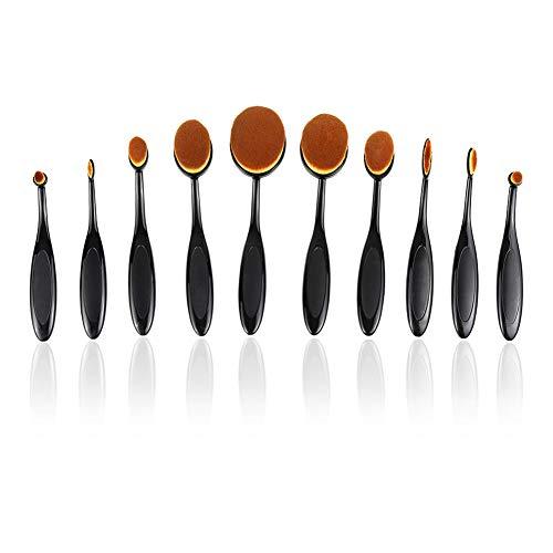 USNASLM 10 piezas cepillo de maquillaje Set suave Oval cepillo de dientes en forma de base contorno cepillo polvo Conceler delineador de ojos cepillo cosmético
