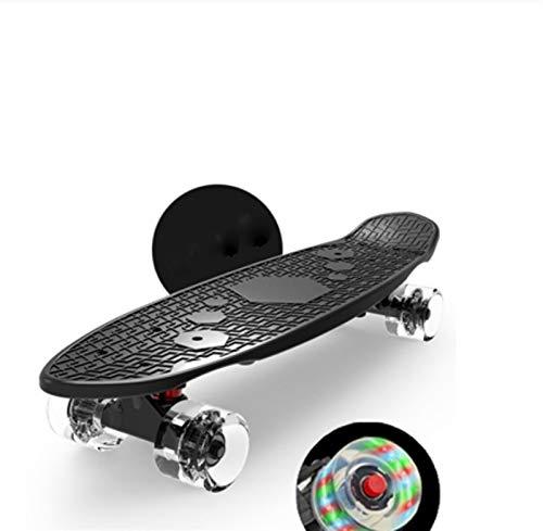 mrjg Longboard Pescado patín Flash Wheels Mini Cruiser Scooter Niños Borad 22 Pulgadas Pastel Longboard Boys Girls Patinaje Adulto (Color : Black Flash Wheels)