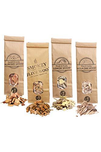 Smokey Olive Wood Sow 4X 500 ml Selección de virutas de Madera para Barbacoa y ahumar: Olivo, Almendro, encina y limonero. Talla Nº3: 2-3cm, AHLV3-04-0.5L