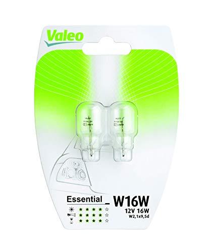 VALEO Ampoules Halogène, W16W-Essential-Blister x2, 32122, Set de 2, Noir