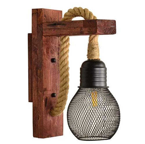 YANSW Lámpara de pared Aplique de pared Aplique de pared, Vintage Industrial Madera Hierro Cuerda de cáñamo Personalidad creativa Elevador Polea Accesorio para iluminación interior Garaje Restaurante