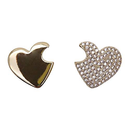 QIN Korean full water drill heart earrings women's gold metal open heart, fall, pendant, earrings, declaration jewelry