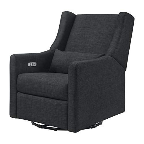 'Babyletto Kiwi Electronic Power Recliner and Swivel Glider with USB Port in Coal Grey , Greenguard...