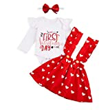 Baby Girls My First Valentine's Day Outfit Ruffles Long Sleeve Romper + Love Heart Suspenders Skirt Set(White,12-18M)