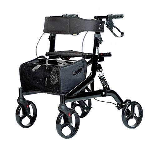 Gcxzb Rodillo Plegable Walke con amortiguación, Carrito de la Compra con Asiento y Dos de Freno de Mano, Equipado con la Cesta del almacenaje y el Pedal, Conveniente for Caminar y Hacer Compras