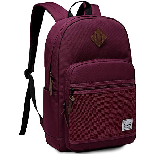 School Backpack,VASCHY Water Resistant Lightweight Casual Backpack for Men Women Teens with Padded Laptop Sleeve Burgundy