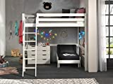 Vipack Letto a soppalco con superficie di appoggio 140 x 200 cm, con divano e cassetti, in legno di pino massiccio laccato bianco