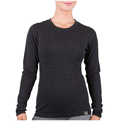 MERIWOOL Womens Base Layer 100% Merino Wool Midweight Long Sleeve Thermal Shirt Charcoal Gray