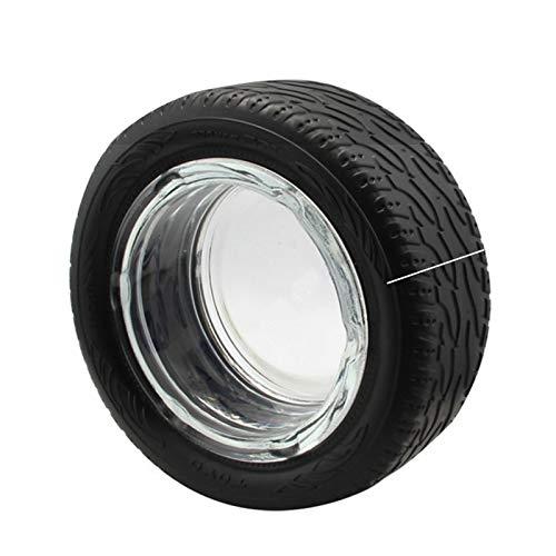 ßÃT Cenicero de goma para neumáticos de cristal con personalidad para el hogar, creativo, industrial, cenicero, para sala de estar, bar, tendencia, decoración multiusos