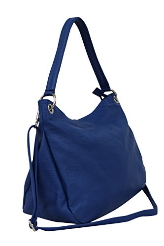 AMBRA Moda Damen echt Ledertasche Handtasche Schultertasche Beutel Shopper Umhängtasche GL002 Blau (Royalblau)