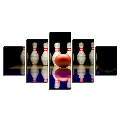 YNHSZ 5 Leinwand, Leinwand, Dekoration zu Hause, HD-Druck, für Wohnzimmer, 5 Stück, Bowling-Kugel, Sport, Landschaft, Foto, Wand, Art