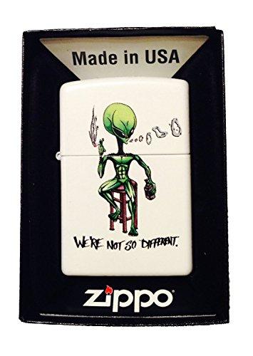 "Zippo Custom Lighter -""We're Not So Different"" Alien Smoking & Drinking - Gifts for Him, for Her, for Boys, for Girls, for Husband, for Wife, for Them, for Men, for Women,"