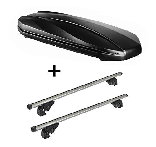 Dakbox Strike 440 liter mat zwart + dakdrager/raildrager VDPLION1 compatibel met Volkswagen Polo V (6R/6C) Cross (5 deurs) 09-17