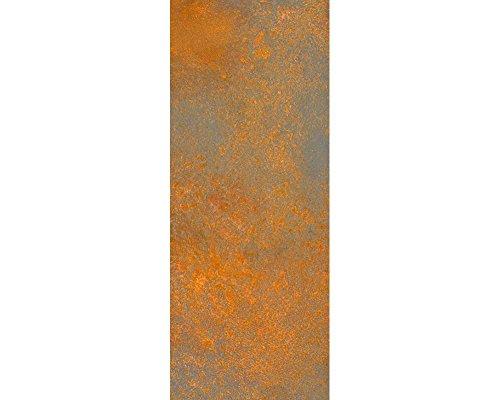awallo Dekopanel Motiv verrostete Metallplatte in den Farben Kupfer, Silber Fototapete in 100x250 cm auf Vliestapete Made in Germany einfache und schnelle Verarbeitung