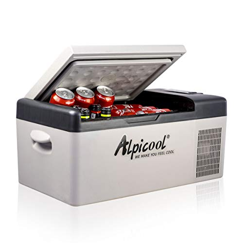 Alpicool C15 Portable Refrigerator 16 Quart(15 Liter) 12 Volt Fridge Freezer for Car, Vehicle, Truck, RV, Boat, Mini fridge freezer for Driving, Travel, Fishing, Outdoor, Home -12/24V DC and 110-240V AC