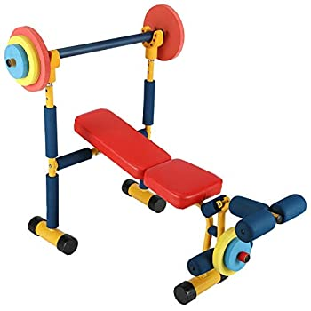Kids Weight Bench Set Workout Equipment Weights and Adjustable Bar Bench Press Set for Kids Weight Lifting Fitness Mini Barbell Toy for Boys Girls