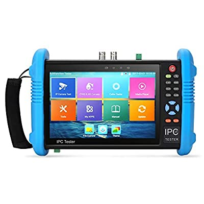 Koolertron Upgraded 7 inch IPS Touch Screen H.265 4K IPC-9800 Plus IP Camera Tester CCTV CVBS Analog Tester Built in WiFi with POE/WIFI/8G TF Card/HDMI Output/RJ45 TDR/Dual Window Test/Firmware